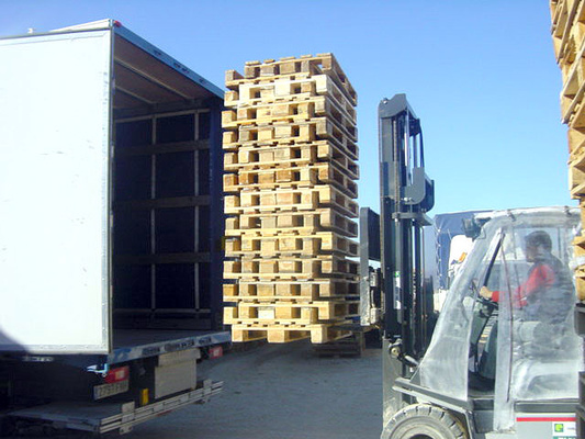 Pallets in the truck